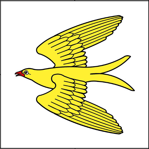 (Fieldless) A martlet volant Or